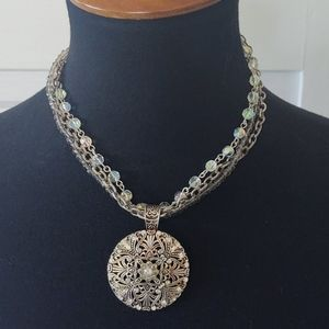 Avon Crystal Beaded Silver Pendant Necklace